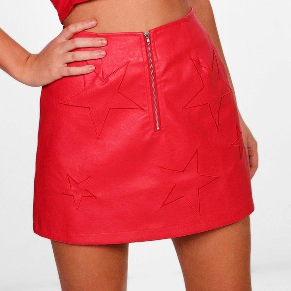 26d14d4121 Boohoo Skirts | Red Leather Skirt With Stars | Poshmark